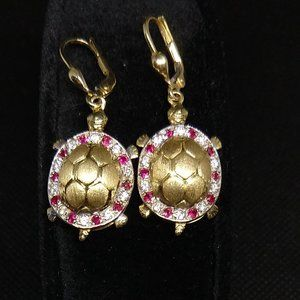Turtle Earrings 14k Gold 10 Diamonds 10 Rubies